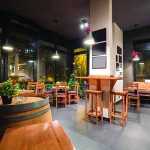 Interior of a modern wine bar